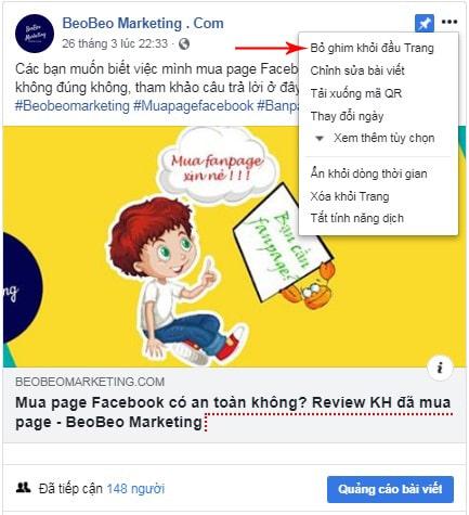cách bỏ ghim bài viết trên facebook