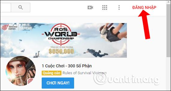 Nhấn nút Đăng nhập Youtube