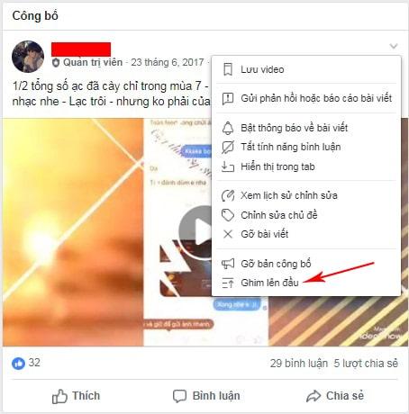 cách ghim bài viết trong nhóm trên facebook