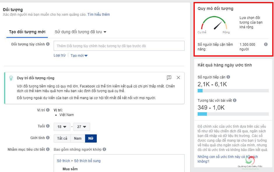 Kiểm tra quy mô đối tượng quảng cáo Facebook