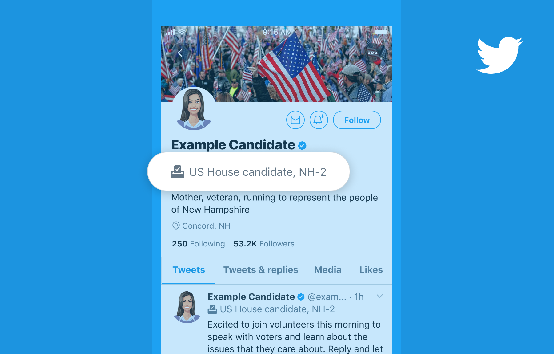 About election labels on Twitter