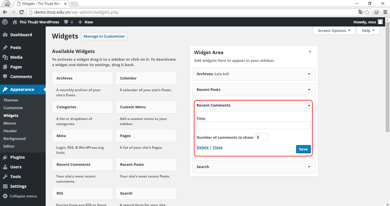 Hướng dẫn sử dụng một số Widget thông dụng WordPress