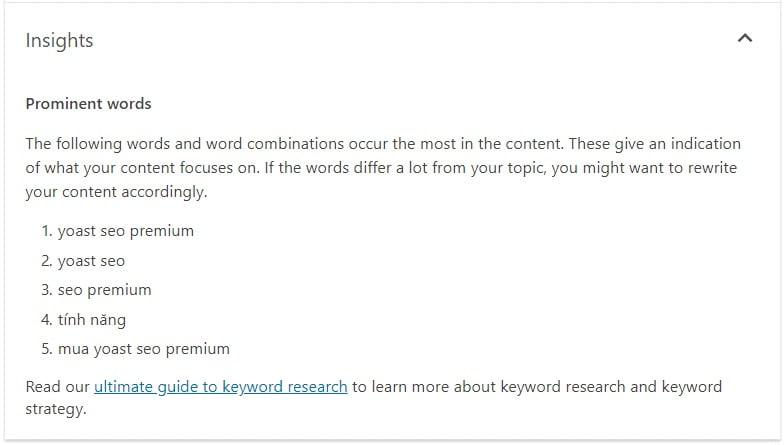 tính năng content insights của yoast seo premium